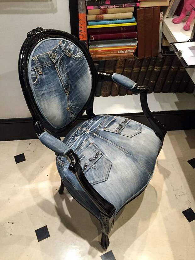 Обивка для кресла из старых джинсов идея, подборка, прикол, своими руками, юмор