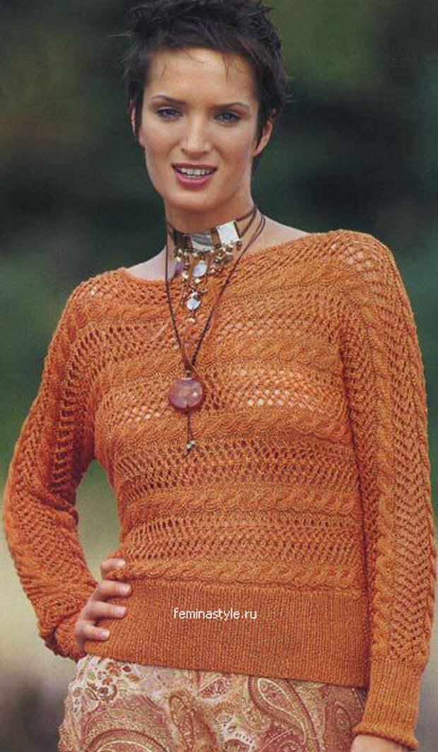 Оранжевый ажурный пуловер
