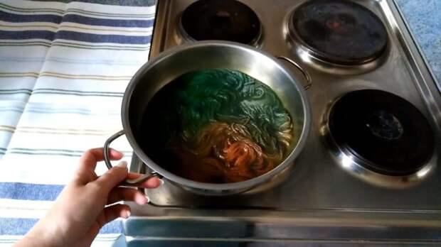 Простейшая идея, как окрасить пряжу: горячий способ на плите