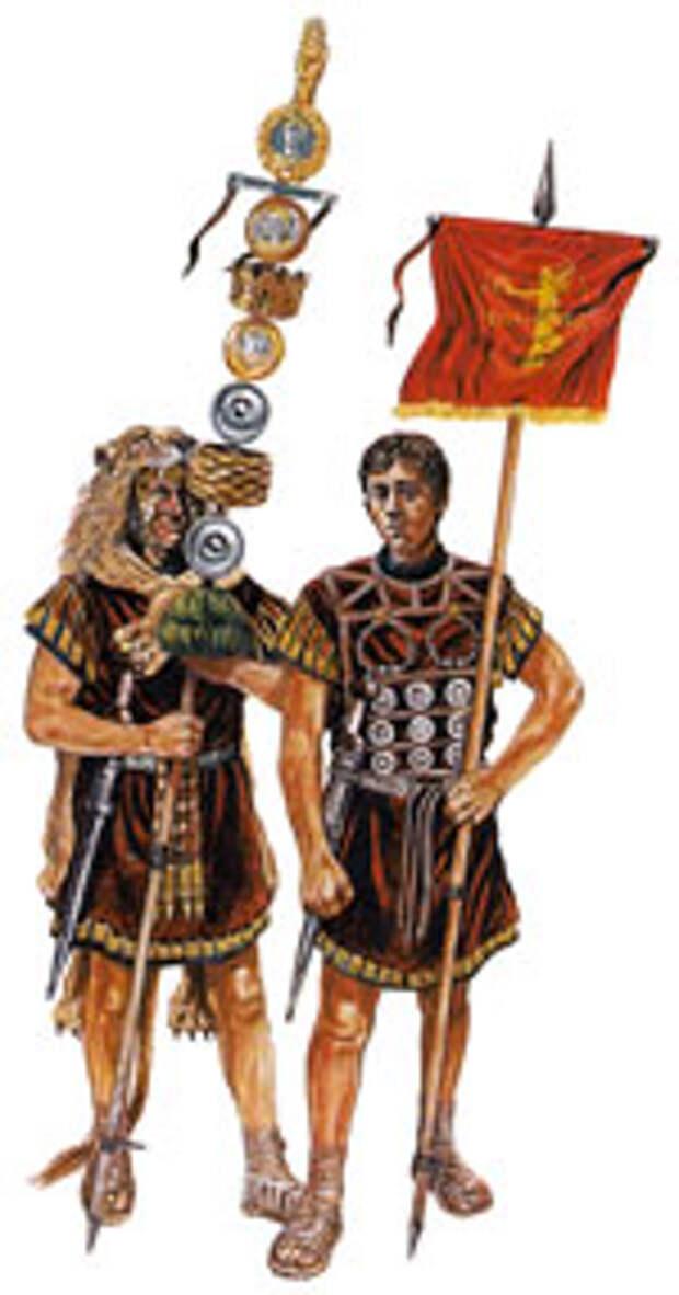 Преторианский знаменосец (сигнифер) и вексиларий