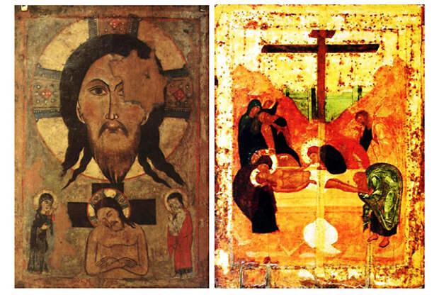 На иконе вверху находится убрус с образом<br>«Спас Нерукотворный». / «Положение во гроб». На переднем плане у гроба лежит сложенная плащаница.