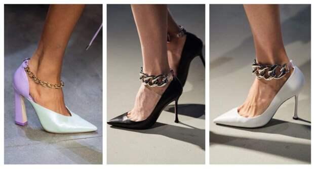 цепи и туфли в модных показах