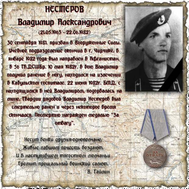 Рядовой НЕСТЕРОВ Владимир Александрович
