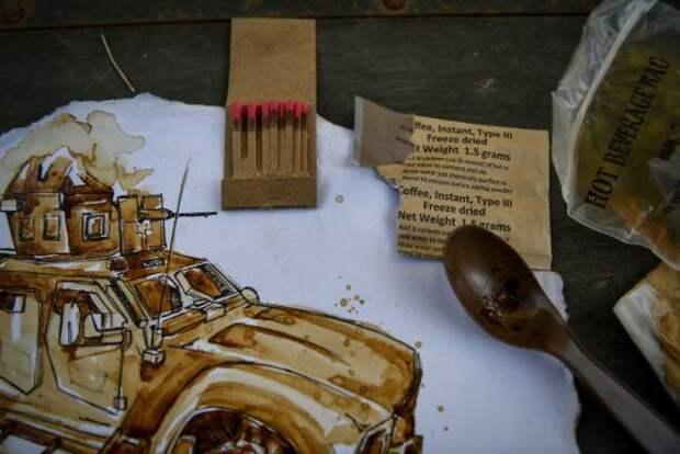 Мастер свои воспоминания рисует растворимым кофе