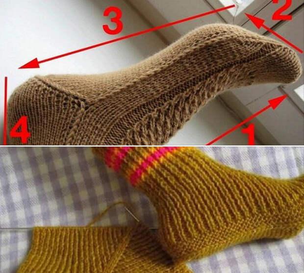 Оригинальные носочки на двух спицах
