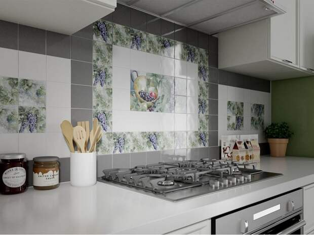 Плитка с рисунком на кухне - старомодное решение. / Фото: rdmkuhni.ru