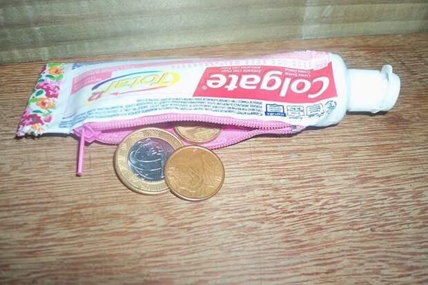 Кошелек из тюбика от зубной пасты идея, подборка, прикол, своими руками, юмор