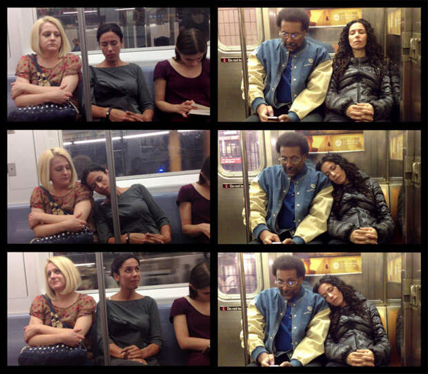 Любопытные фотографии «спящих» пассажиров вметро