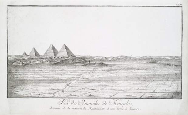 Эскиз Нордена 1700-х годов, изображающий 4 пирамиды в Гизе.