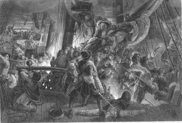 Голландский военный корабль отбивает абордаж корсаров - Великие крейсерские войны. Франция против Аугсбургской лиги   Военно-исторический портал Warspot.ru