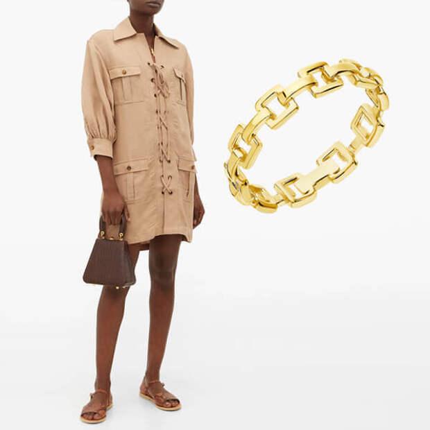 Стиль сафари и золотые украшения – актуальное летнее комбо