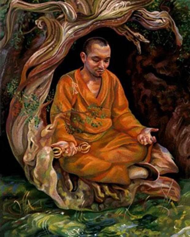 Kukai-meditating-to-his-death-on-Mount-Koya