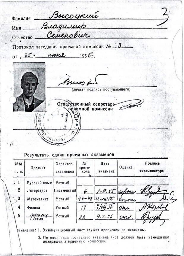 Экзаменационный лист В. Высоцкого при поступлении в МИСИ, 1955 г.