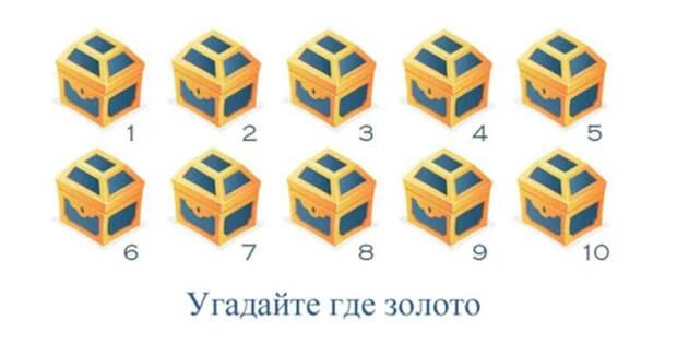 Тест на интуицию: «Угадайте, в каких сундуках спрятано золото?»