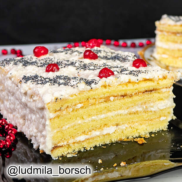 """Домашний торт """"Три стакана"""", который не нуждается в пропитке. Я влюбляюсь в него все больше и больше."""