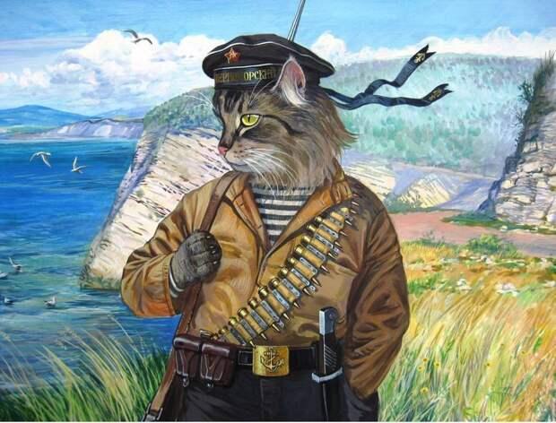 Военный моряк, душа в полоску, художник Александр Завалий