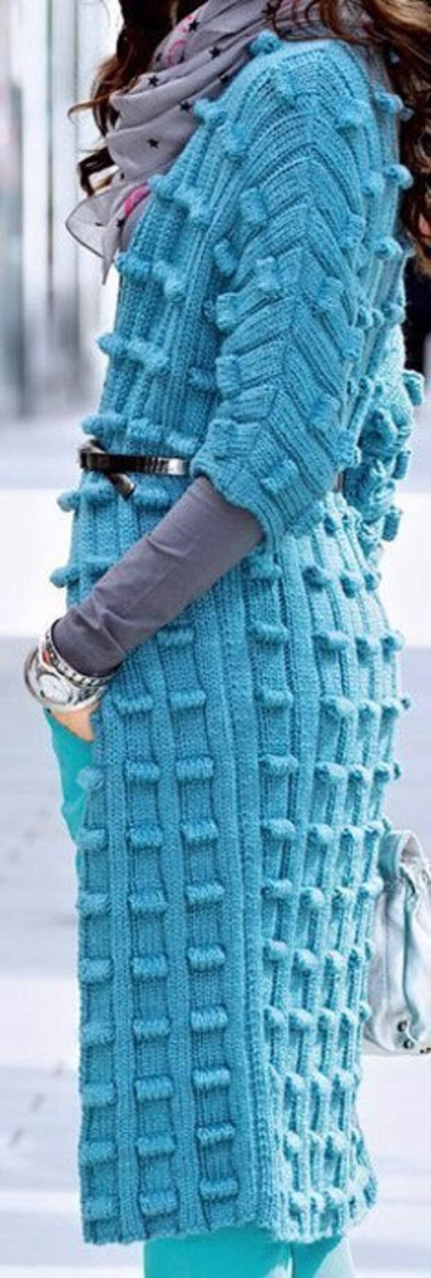 Схема и описание вязания оригинального пальто