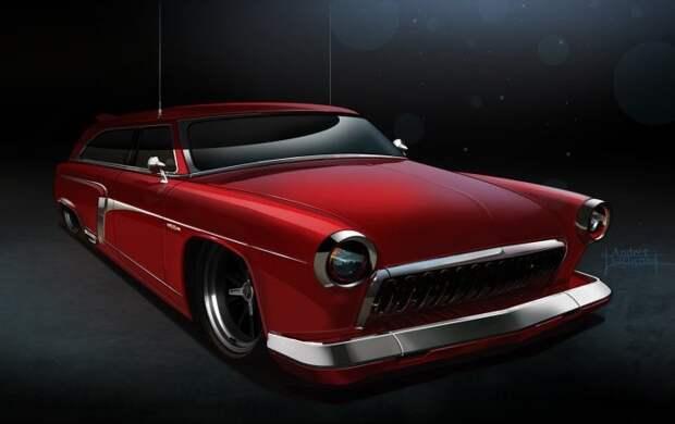 3. ГАЗ-21 «Red Wagon» СССР, авто, арт-картина, прототип, художник