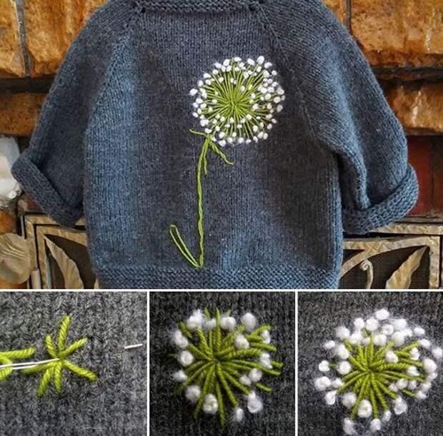 Как сделать вышивку на свитере