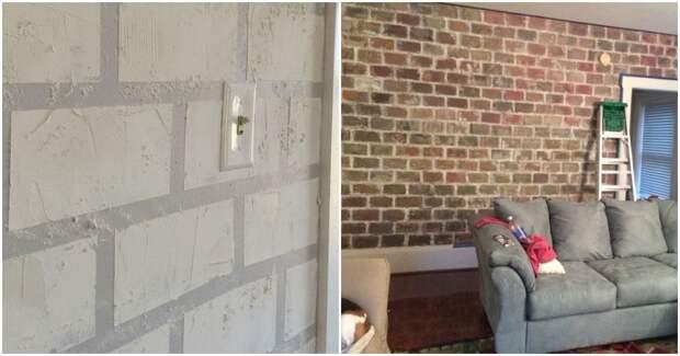 Как превратить скучную стену в модную «кирпичную»