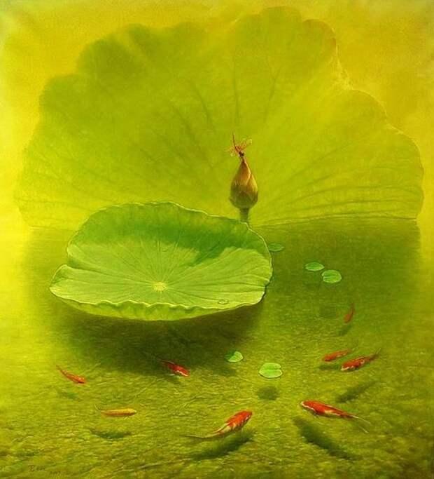 Jiang Debin. Цветы акварелью. Лотос седьмой