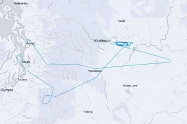 Схема первого полёта Boeing 777-9 над штатом Вашингтон; 25 января 2020 года