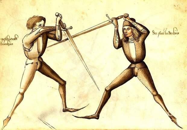 Схватка на мечах меж горожанами. Примерно пятнадцатый век.
