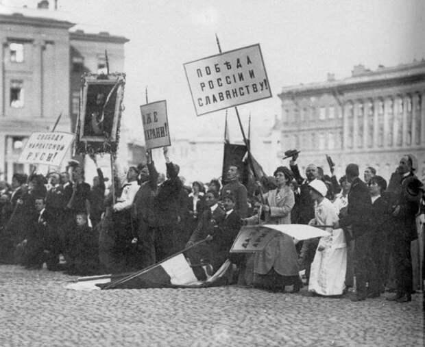 """Так началась """"Великая Война."""" Петербург, 2 августа, 1914, Россия, Кинохроника"""