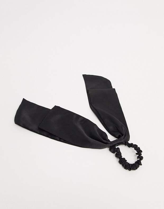 Черная атласная повязка ASOS DESIGN