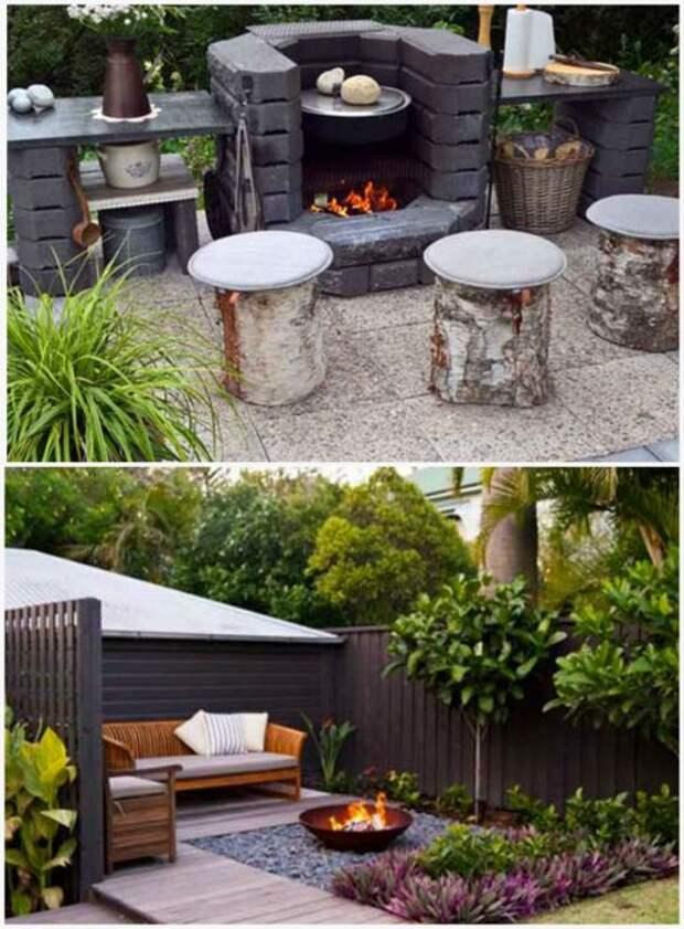 Зона для отдыха с мангалом. \ Фото: pinterest.com.