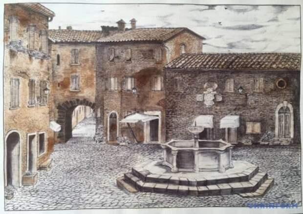 Эти две картины нарисованы в тюрьме: с помощью шариковых ручек, карандаша, чая и луковой шелухи