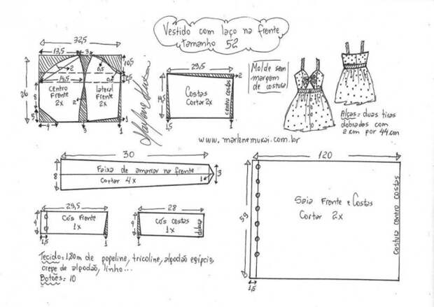 Выкройка летнего сарафана с узлом спереди