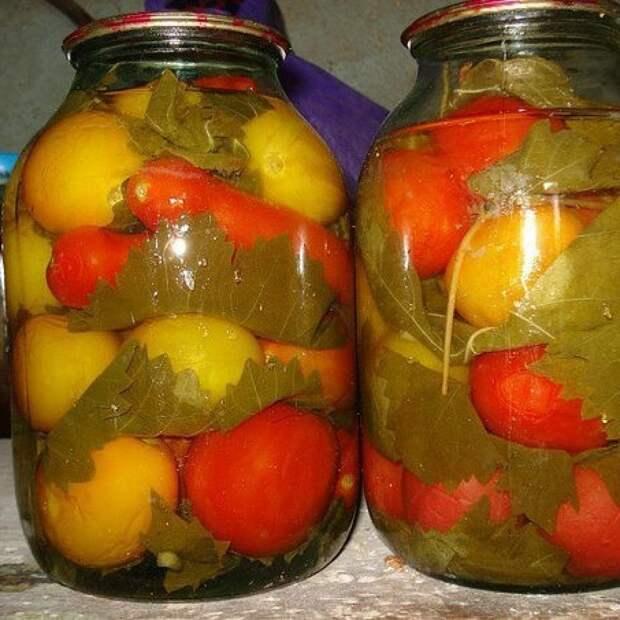 Помидоры соленые с виноградными листьями