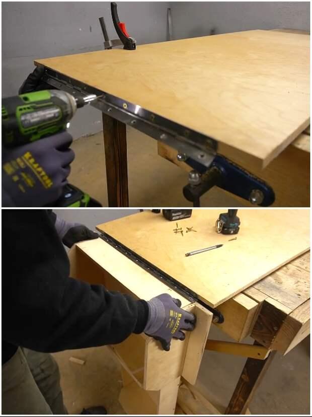 С помощью рояльных петель ящик закрепляем внизу конструкции. | Фото: youtube.com/ © Men's Craft.