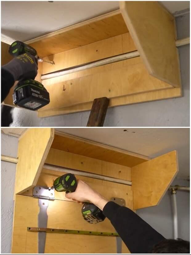 Закрепление козырька на стену делают с помощью дюбелей и шурупов, а вот дверные петли можно закрепить саморезами по дереву. | Фото: youtube.com/ © Men's Craft.