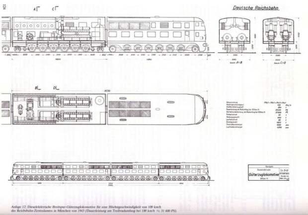 Чертеж тепловоза для двухэтажного немецкого поезда. /Фото: scaletrainsclub.com
