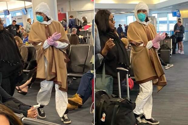 Наоми Кемпбелл показала как надо летать: приехала в аэропорт в костюме полной химзащиты