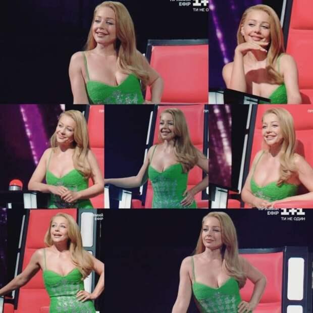 Тина Кароль в зеленом платье на тонких бретелях подразнила Дана Балана стройной фигурой
