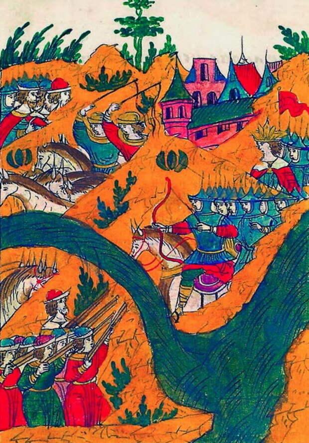 Сражение Ржевского с Мухаммед-Гиреем под Ислам-Керменом. Миниатюра из Лицевого свода, том 22 - «Война двух царей»: разведка | Warspot.ru