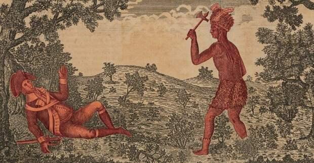 Смерть генерала Батлера (известен своей жестокостью по отношению к индейцам) во время битвы при Вабаше на гравюре той эпохи
