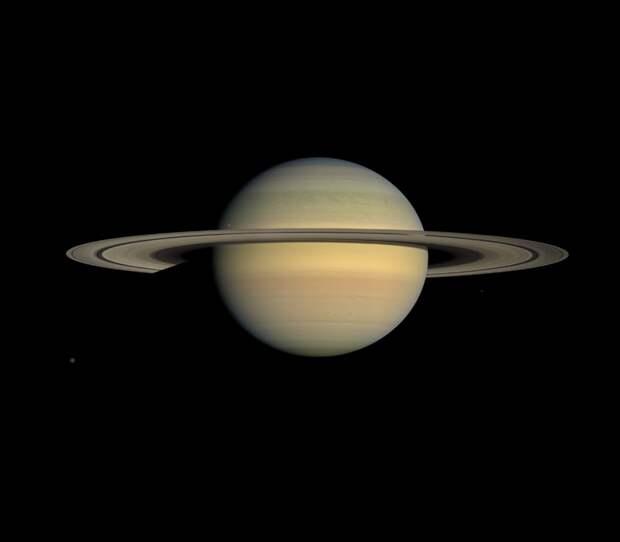 2008. Фотография планеты Сатурн и ее кольца, сделанная космическим кораблем «Кассини» (англ. Cassini orbiter) в июле