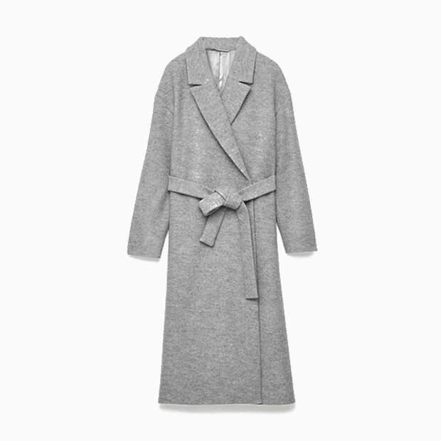 Шерстяное пальто с поясом COS