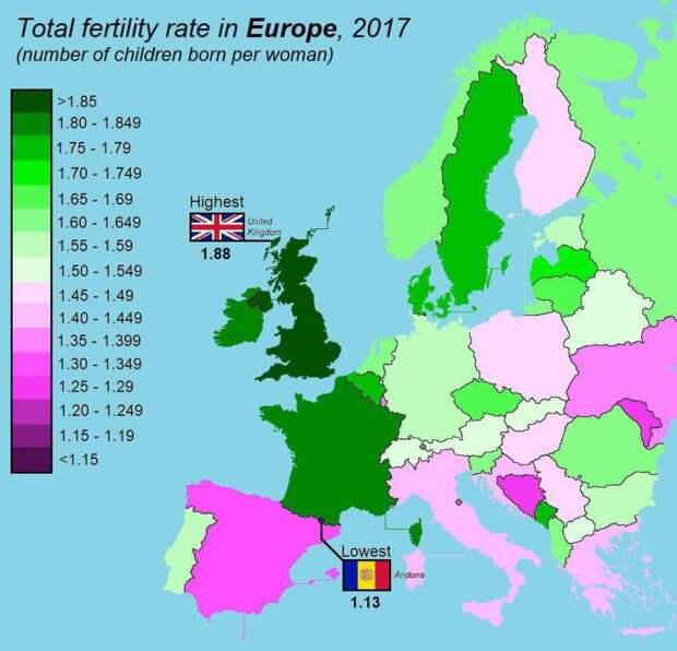 Коэффициенты рождаемости в Европе, 2017 год