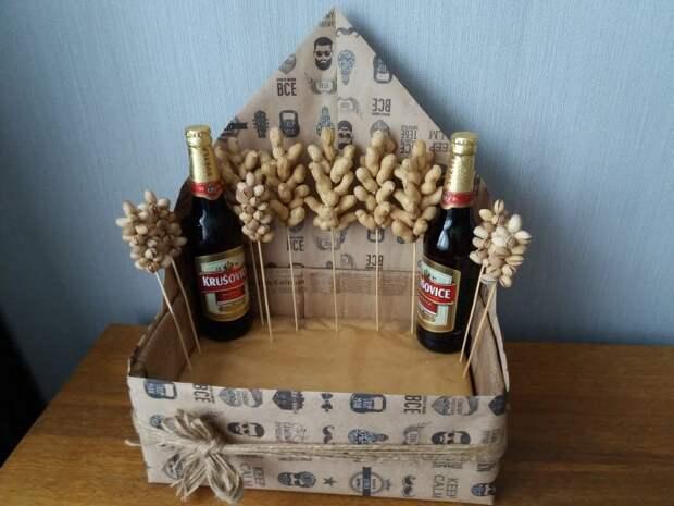 Корзина «К пиву» — подарок мужчине, сделанный своими руками