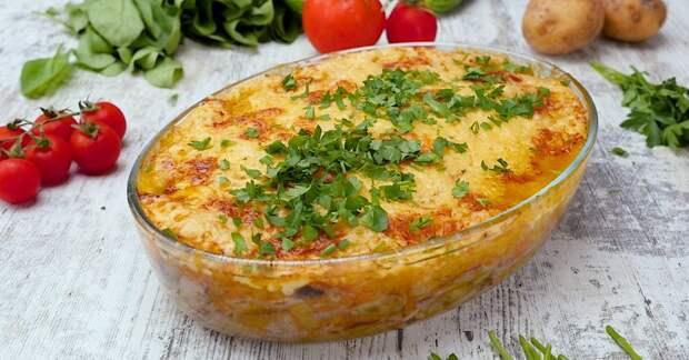 Румяная баклажанная запеканка с говядиной и сыром