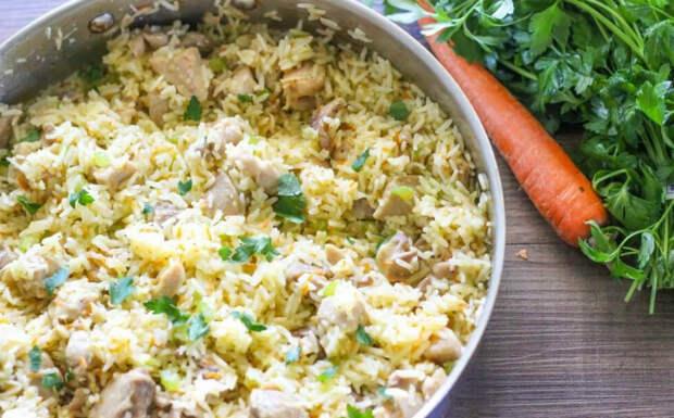 рис с курицей в сковороде