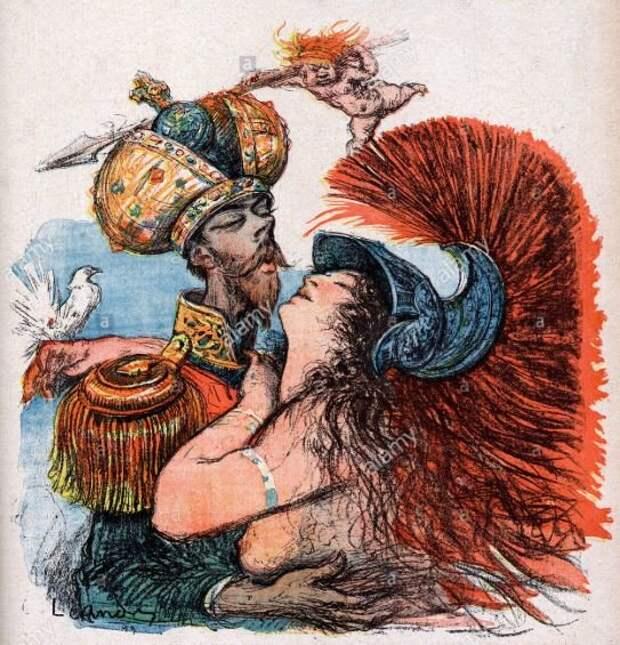 Карикатура начала 20 века, изображающая Николая II и персонификацию Франции, сливающихся в объятиях (Антанта?)