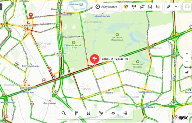 Ситуация на дорогах: загруженность шоссе Энтузиастов утром 30 июня – 5 баллов
