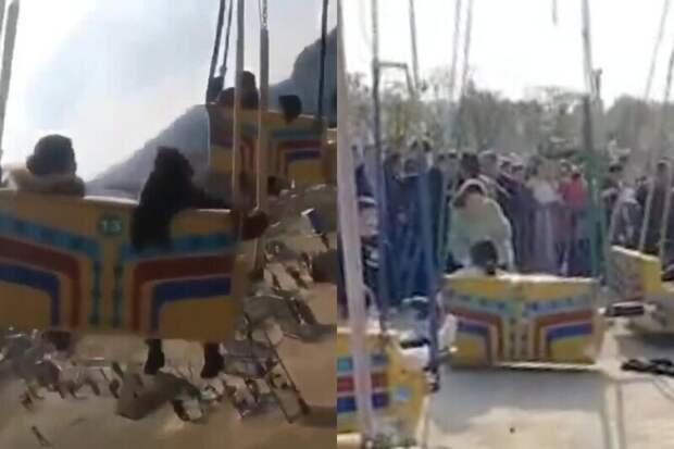 Вовремя работы вкитайском парке развлечений рухнул аттракцион — момент падения попал навидео