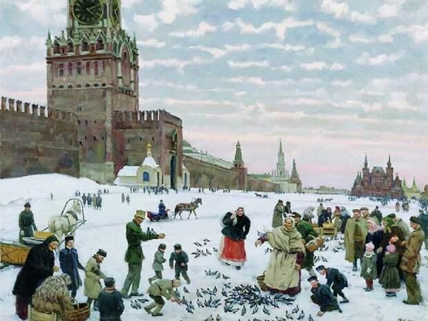 Кормление голубей на Красной площади. 1946.  Автор: Константин Юон.